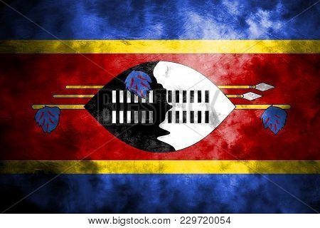 Old Swaziland Grunge Background Flag, Vintage Flag