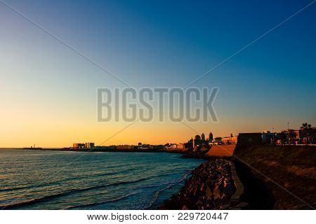 Seafront. Embankment And Sea View In Cádiz. Picture Taken - February 10, 2018.