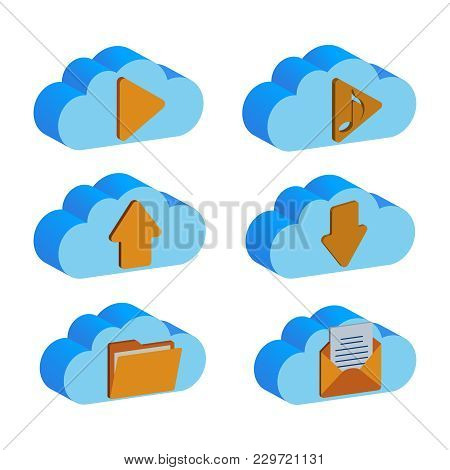 A Set Of Cloud Vector Folders. A Cloud Backup Data Folders In Flat Vector Icon. A Blue Cloud And Yel