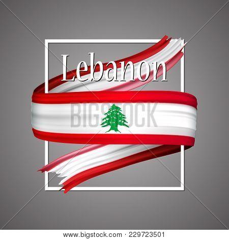 Lebanon Flag. Official National Colors. Lebanon 3d Realistic Ribbon. Waving Vector Patriotic Glory F
