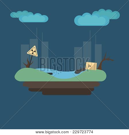 A Vector Illustration Of Pollution Ecology Factory. Ecology Concept. Environmental Pollution Problem