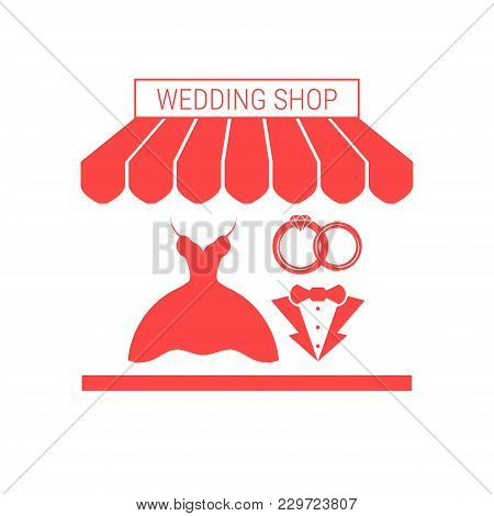 Wedding Shop Single Flat Vector Icon. Striped Awning And Signboard. A Series Of Shop Icons.