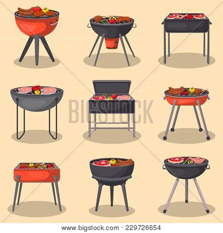 Different Types Barbecue Grills Isolated Set. Charcoal Kettle Grills With Assorted Delicious Grilled