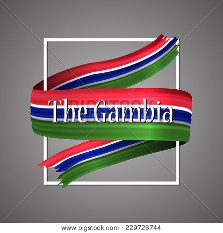 The Gambia flag.Official national colors.The Gambian 3d realistic ribbon. Waving vector patriotic glory flag stripe sign. Vector illustration background. Icon design frame for banner, poster or print poster