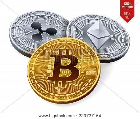 Bitcoin. Ripple. Ethereum. 3d Isometric Physical Coins. Digital Currency. Crypto Currency. Silver An