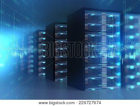 Corridor Of  Server Room With Server Racks In Datacenter. 3D Illustration