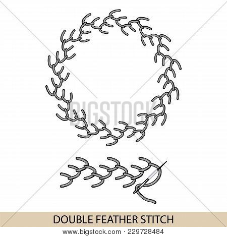 Stitches Stich Type Vector. Collection Of Thread Hand Embroidery And Sewing Stitches. Vector Illsutr