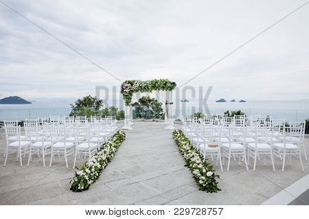 Beach Wedding Venue Outdoor With The Pine Tree And The Ocean Background, Koh Samui, Thailand The Wed