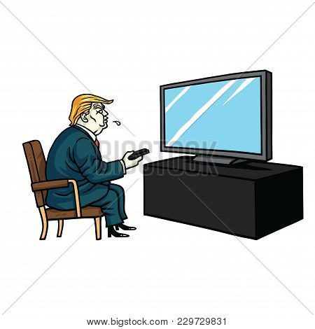 Donald Trump Watching Television. Cartoon Editorial Vector Illustration. March 5, 2018