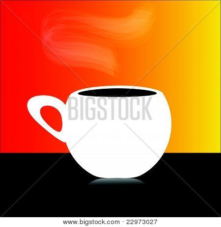 White cup of coffee with aroma