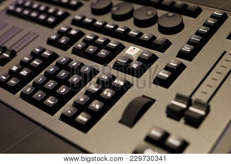 Closeup Of The Front Panel Of Lighting Control Console. Selective Focus.