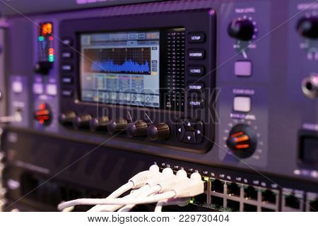 Closeup Of The Compact Digital Mixing Console. Selective Focus.