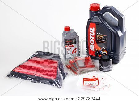 Krasnoyarsk, Russia - February 26, 2018: Consumables For The Motorcycle. Engine Oil Motul, Oil Filte