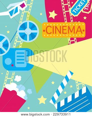 Abstract Poster Of Movie For Design. Colorful Elements On The Theme Of Movie. Colorful Illustration