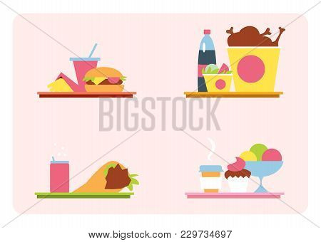 Sets With Fast Food On A Tray. Set Of Illustrations Fast Food Meal. Fast Food In A Flat Style, Graph