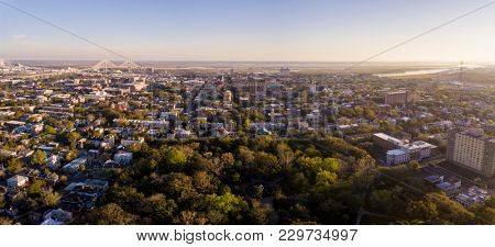 Aerial view of downtown Savannah, Georgia and historic neighborhoods from uptown.