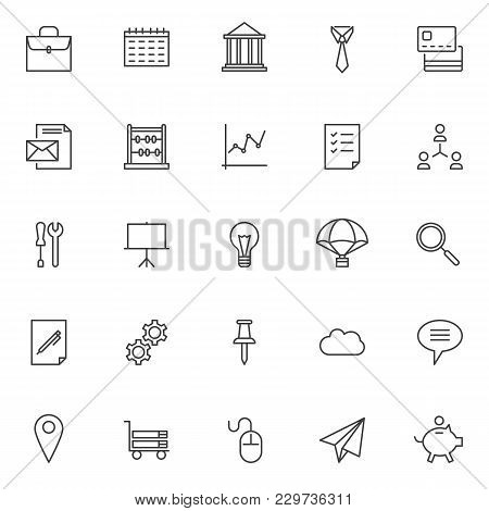 Business Outline Icons Set. Linear Style Symbols Collection, Line Signs Pack. Vector Graphics. Set I