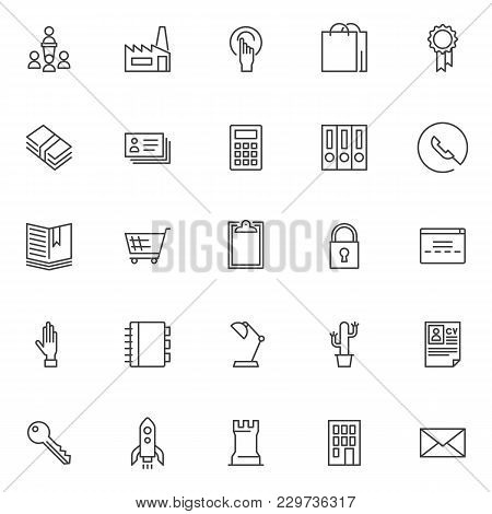 Business Elements Outline Icons Set. Linear Style Symbols Collection, Line Signs Pack. Vector Graphi