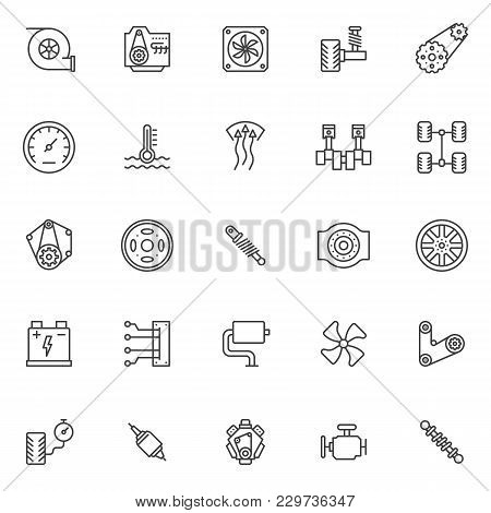 Car Engine Elements Outline Icons Set. Linear Style Symbols Collection, Line Signs Pack. Vector Grap