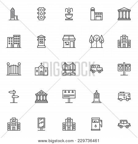 City Buildings Outline Icons Set. Linear Style Symbols Collection, Line Signs Pack. Vector Graphics.