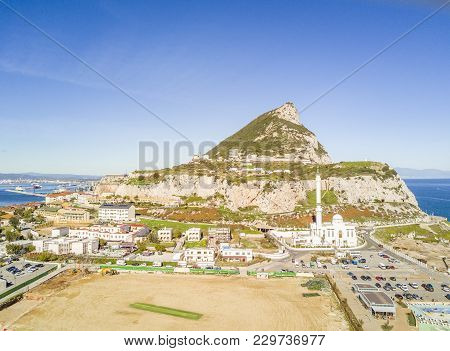 Famous Gibraltar Rock On Overseas British Territory, Iberian Peninsula