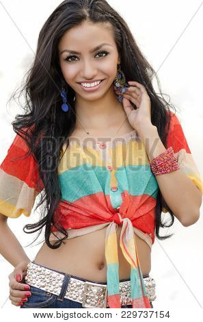 Beautiful young woman with long dark hair