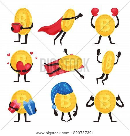 Colorful Set Of Golden Coins With Arms And Legs In Different Actions. Cartoon Bitcoin Characters Wit