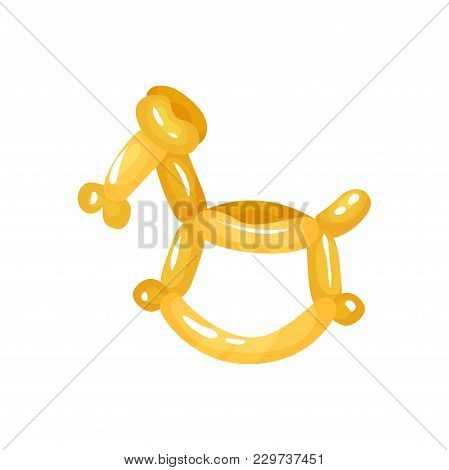Horse Animal Figurine Twisting Of Glossy Yellow Balloons. Funny Inflatable Toy. Decoration For Child