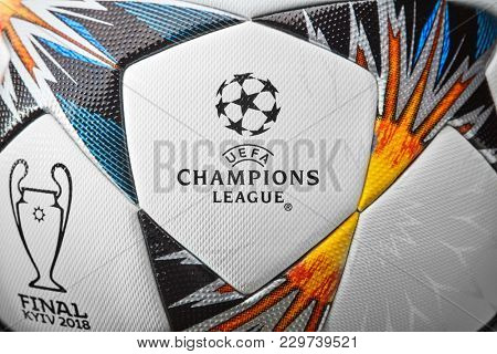 Kiev, Ukraine - February 22, 2018 official Champions League Final Soccer Ball
