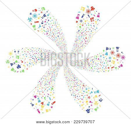 Colorful Chemistry Symbols Curl Flower Shape. Psychedelic Cycle Designed From Scattered Chemistry Sy