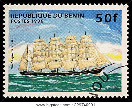 Moscow, Russia - March 06, 2018: A Stamp Printed In Benin Shows 5-masted Sailing Ship (barque), Seri