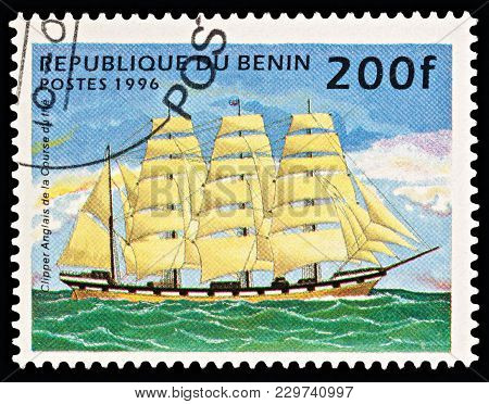 Moscow, Russia - March 06, 2018: A Stamp Printed In Benin Shows English Tea Clipper (sailing Ship),