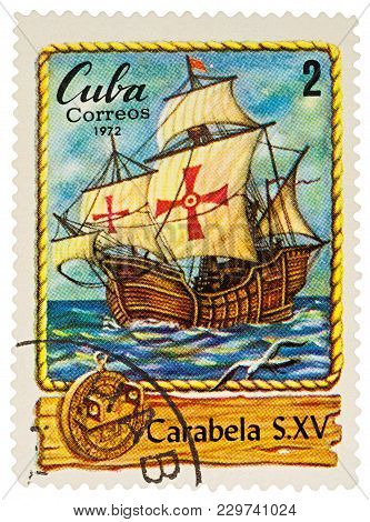 Moscow, Russia - March 06, 2018: A Stamp Printed In Cuba Shows Ancient Sailing Ship - Caravel (devel