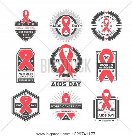 World Aids And Cancer Day Label Set Isolated Illustration. Stop Aids Hiv Symbol. Safe Sex Icon. Red