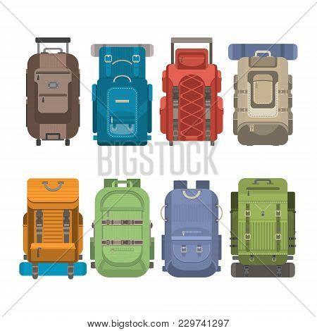 Tourist Backpack Set Isolated Illustration In Flat Design. Classic Styled Hiking Backpack With Sleep
