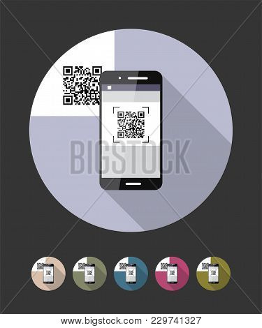 Qr-code Scanning Phone. Vector Flat Style Illustration