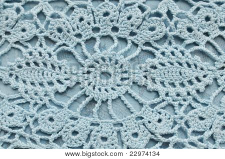 Close-up Of Blue Crocheting Pattern