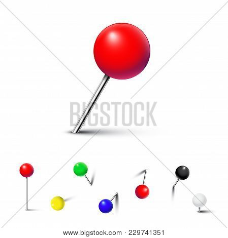 Different Color Pushpins Isolated On White Background. Vector Realistic Design Element