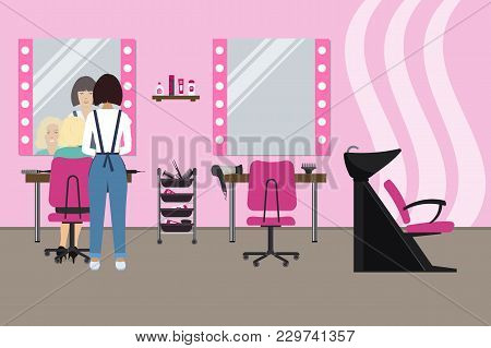 Interior Of A Hairdressing Salon In A Pink Color. Beauty Salon. There Is A Hairdresser And A Client