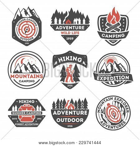 Adventure Outdoor Vintage Isolated Label Illustration. Summer Camping Symbols. Mountain Explorer Ico