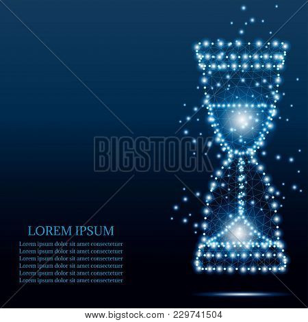 Hourglass Sand Clock Icon From Triangles, Point Connecting Network On Blue Starry Sky Background. Po