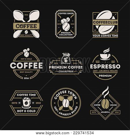 Coffee Shop Vintage Isolated Label Set Illustration. Best Quality, Premium Collection Icon. Coffee C