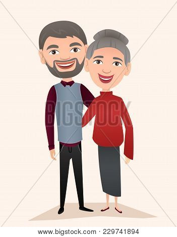 Happy Middle Aged Couple Isolated Illustration. Smiling Grandfather And Grandmother Cartoon Characte