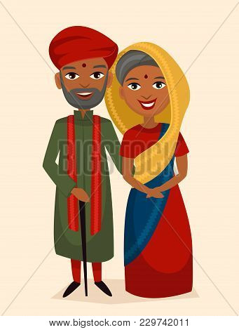 Happy Indian Middle Aged Couple In National Dress Isolated Illustration. Smiling Grandfather, Grandm