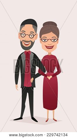 Happy Jewish Middle Aged Couple Isolated Illustration. Smiling Grandfather And Grandmother Character