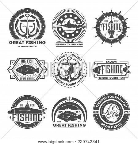 Great Fishing Tournament Vintage Isolated Label Illustration. Good Catch Symbol. Big Fish Icon. Spor