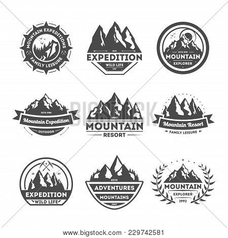 Mountain Explorer Vintage Isolated Label Illustration. Family Leisure Symbol. Mountain Expeditions I