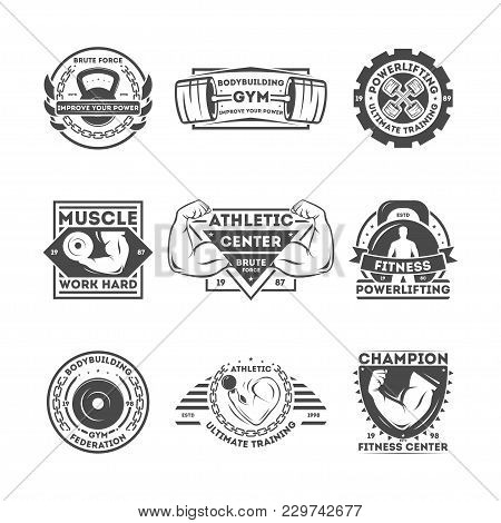 Fitness Center Vintage Isolated Label Illustration. Athletic Ultimate Training Concept. Bodybuilding