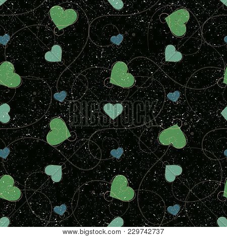 Vector Seamless Pattern With Heart. Hand Drawn Cute And Funny Fashion Illustration Patches Or Sticke