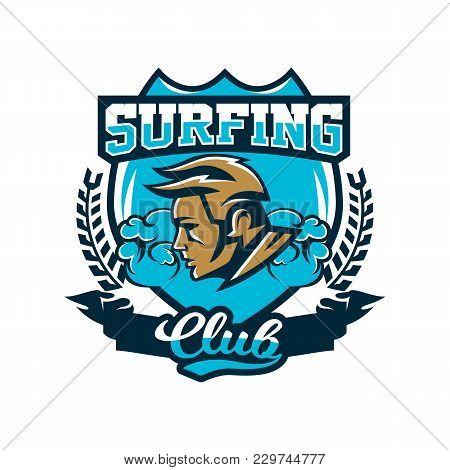 Colorful Logo, Emblem Surfer On A Background Of Waves, Prints On T-shirts, Vector Illustration.